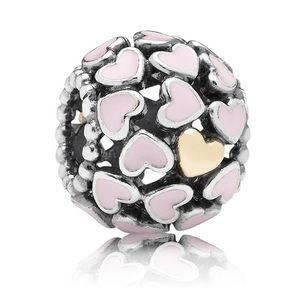 Pandora lots of love charm gold and pink enamel